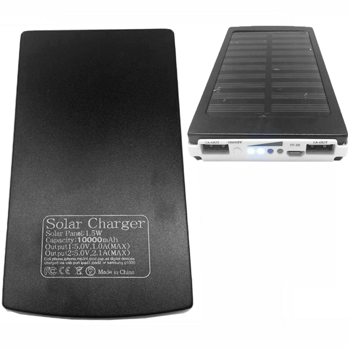 SP10000 10000mAh Li-Polymer Battery Solar Powered Charger Power Bank - Black