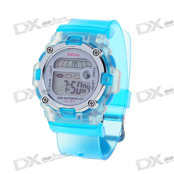 Trendy Light Digital Watch with Date Display/Alarm Clock - Blue (1*L1131)