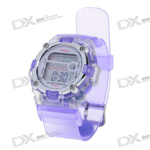 Trendy Light Digital Watch with Date Display/Alarm Clock - Purple (1*L1131)