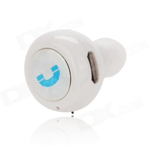 EPGATE D00280 Hands-Free Bluetooth v4.0 Stereo Music Earphone - White smallest music phone calls hands free stereo bluetooth mini earphone headset for iphone 7 6 6 plus 5s 5c galaxy s5 note 3 4