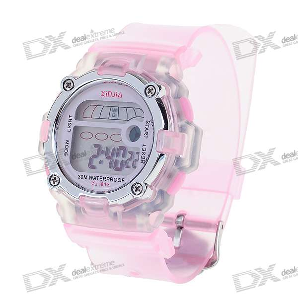 Trendy Light Digital Watch with Date Display/Alarm Clock - Pink (1*L1131)