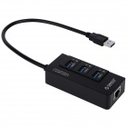 ORICO HR01-U3 Speed 3-Port USB 3.0 Extension Multi-functional Hub W/ Ethernet RJ45 Port - Black