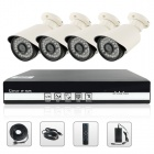 SANNCE NVR6004 + IPC3F24P-I2 4-CH POE NVR & 720P 1.0MP HD IP Cameras Security System Set
