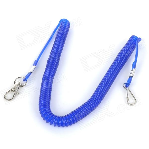 Fishing Rod Plastic Spring Cord w/ Keyring - Blue