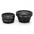 3-in-1 0.65X Wide Angle + Macro Lens / Fish Eye Clip Lens Set