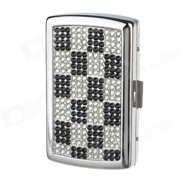 Clamshell Double-Sided Rhinestone Studded Aluminium Alloy Cigarette Case - Sliver + Black