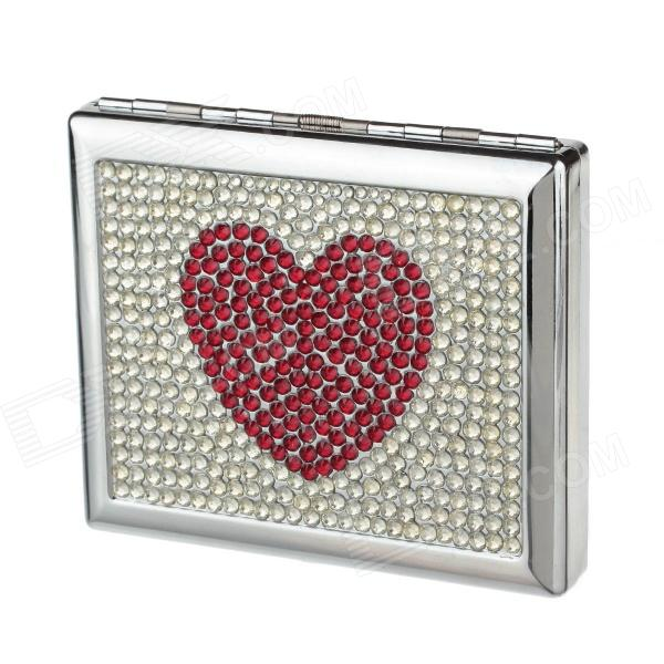 Heart Style Clamshell Double-Sided Rhinestone Studded Aluminium Alloy Cigarette Case - Sliver + Red