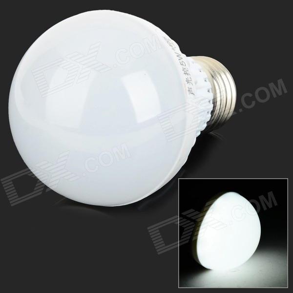 E27 5W 450lm 18-SMD 2835 LED White Light Sound Control Induction Light (AC 220V)