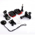 PANNOVO G-642 Plastic Mount Holder Adapter Accessory Set for GoPro Hero 3+ / 3 / 2 - Black