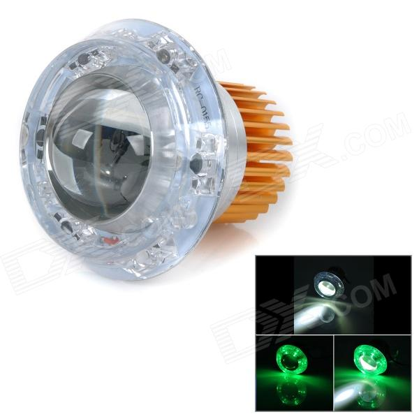 U-3 Universal 30W 180lm Angel Eye LED Green Light Motorcycle Headlamp - Golden + Silver (DC 12~80V)