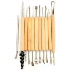 11-in-1 DIY Handheld Clay Sculpture Carving Knives Gravers Tools - Wood Color + Silver