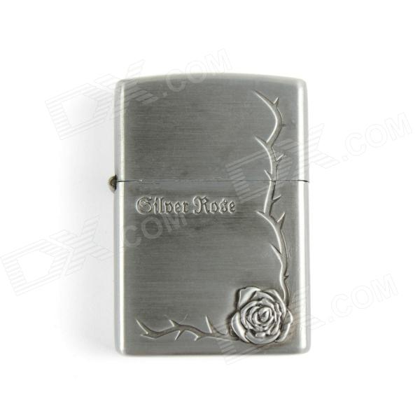 Noble Rose Relievo Kerosene Lighter - Silver