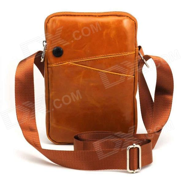 PU Sac à bandoulière unique Satchel w / Zipper + sangle pour IPAD MINI - Tawny