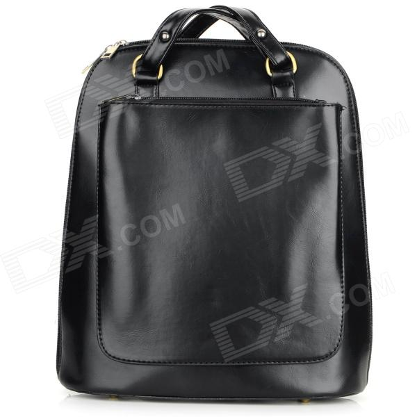 Women's Barrel Shaped Trendy Retro Zippered PU Backpack Tote Bag Handbag - Black
