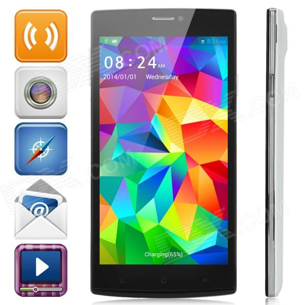 Jiake V5 Android 4.2 Dual-core WCDMA Bar Phone w/ 5.5 Screen, Wi-Fi, Bluetooth, FM - White + Black z18 android 4 2 dual core gsm smart phone w fm wifi 2 4 capacitive screen gps black