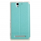 KALAIDENG PU + PC Flip Open Case w/ Display Window for Sony Xperia C3 - Blue