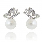 Women's Fashionable Butterfly Style Artificial Pearl Earrings Ear Studs - Silver + White (Pair)