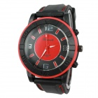 Men's Military Style Silicone Band Analog Quartz Sport Wrist Watch - Red + Yellow (1 x 377)