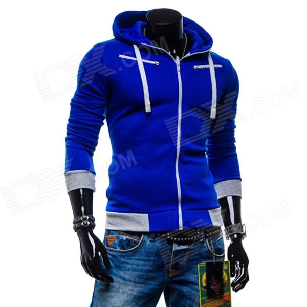 Men's Fashionable Casual Zippered Cotton Hoodie Sweater - Sapphire Blue (XL)
