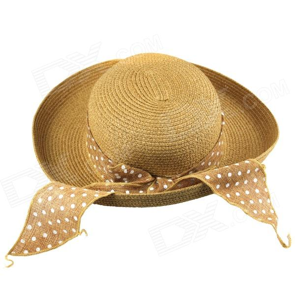 Sweet Casual Bowknot Straw Hat for Women - Khaki stetson men s breakers premium shantung straw hat