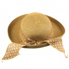 Sweet Casual Bowknot Straw Hat for Women - Khaki
