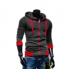 Men's Fashionable Casual Zippered Cotton Hoodie Sweater - Dark Grey (L)