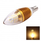 JoYda LJ7 E14 7W 750lm 3000K 35-LED 3014 SMD Warm White Light Cusp Candle Lamp - Golden (AC 85~265V)
