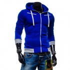 Men's Fashionable Casual Zippered Cotton Hoodie Sweater - Sapphire Blue (L)