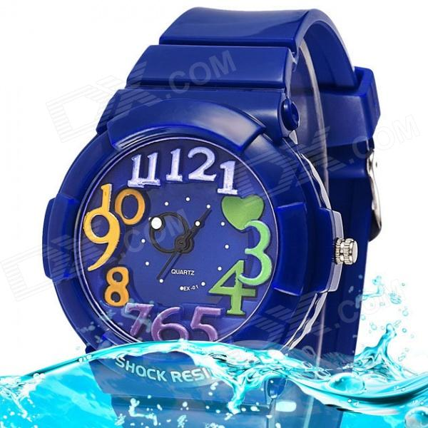 P-01EXAP Children's Waterproof Analog Quartz Sport Wristwatch - Blue