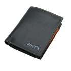 BOVIS HF122-2 Men 's Fashion Casual PU Fold-up Wallet - Black