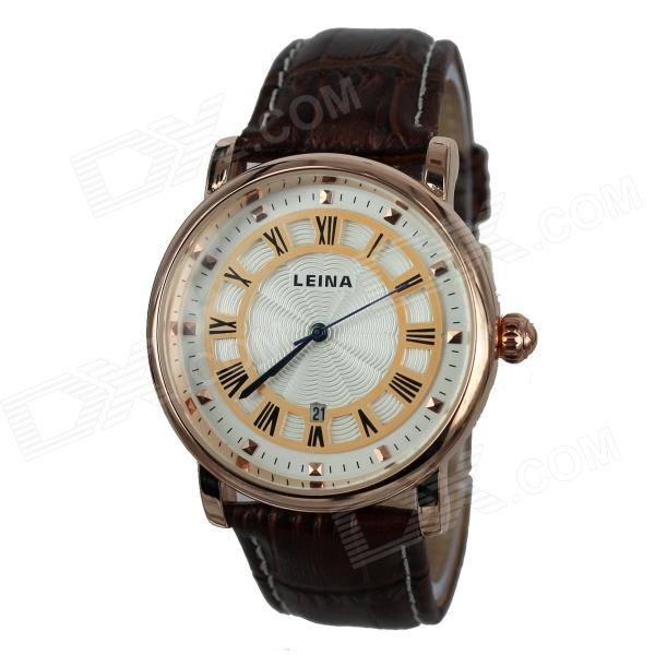 Men's Retro Roman Numerals PU Leather Band Quartz Analog Wrist Watch - Gold + Coffee (1 x 377) paidu fashion men wrist watch casual round dial analog quartz watch roman number faux leatherl band trendy business clock