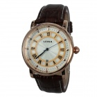 Men's Retro Roman Numerals PU Leather Band Quartz Analog Wrist Watch - Gold + Coffee (1 x 377)