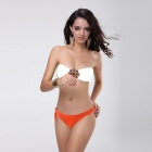 Women's Sexy Nylon + Lycra + Spandex Two-Piece Bikini Swimwear - White + Orange (M)