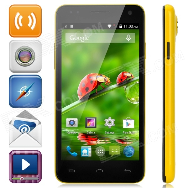 W330 Android 4.4 Quad-core WCDMA Smart Phone w/ 4.5 Screen, ROM 4GB, Bluetooth, Wi-Fi, GPS - Yellow z18 android 4 2 dual core gsm smart phone w fm wifi 2 4 capacitive screen gps black