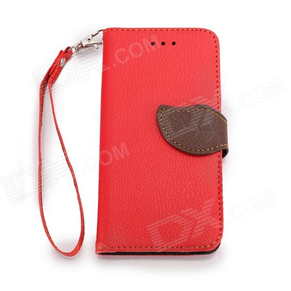 Leaf Closure Protective PU Leather + Plastic Case for IPHONE 6 4.7 - Red sldpj stylish ultra thin protective pu leather case cover w visual window for iphone 4 4s red