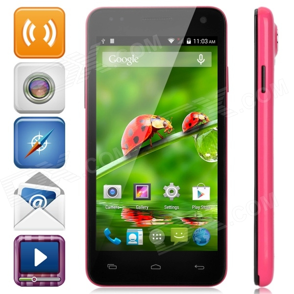 W330 Android 4.4 Quad-core WCDMA Smart Phone w/ 4.5 Screen, Wi-Fi, Bluetooth, GPS - Deep Pink an1 android 4 1 gsm smart watch phone w 2 0 capacitive touch screen wi fi bluetooth gps pink
