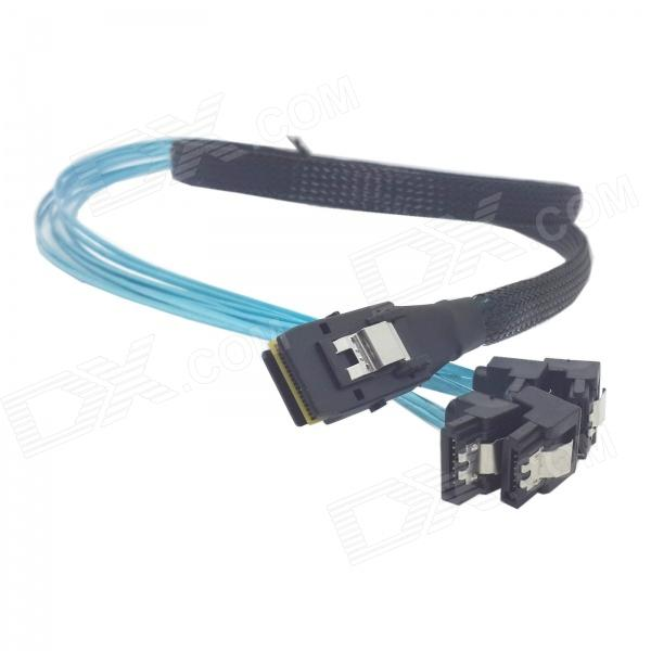CY SF-046 Mini SAS 4i SFF-8087 36-Pin Host to 90 Degree Angled 4 SATA 7P Target HDD Splitter Cable