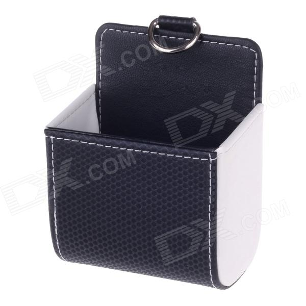 Carbon Fiber Pattern Microfiber Leather Hanging Storage Bag - Black + White