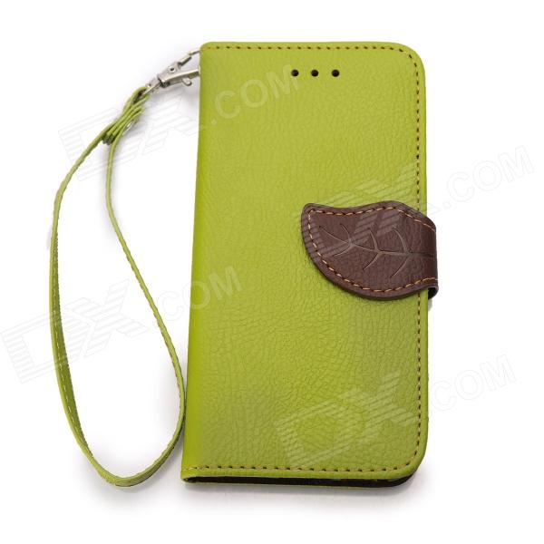 Leaf  Protective PU Leather Flip-open Case for IPHONE 6 4.7 - Green usams protective pu leather flip open case for iphone 5c blue