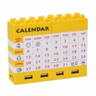 DIY Building Blocks Puzzle Calendar with 4 Ports USB Hub - Yellow + White