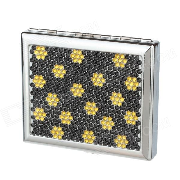 Clamshell Double-Sided Rhinestone Studded Aluminium Alloy Cigarette Case - Sliver + Black + Yellow