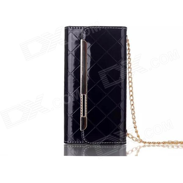 "Stylish Clutch Shoulder Bag Style Protective PU + TPU Case w/ Card Slot for 4.7"" IPHONE 6 - Black"