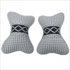 Carking CS-24 Bone Style Car Seat Head Neck Rest Cushion Pillow - Grey + Black (2 PCS)
