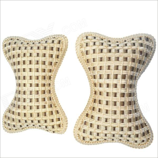 Carking CS-24 Bone Style Car Seat Head Rest Neck Cushion Pillow - Beige + White (2 PCS)