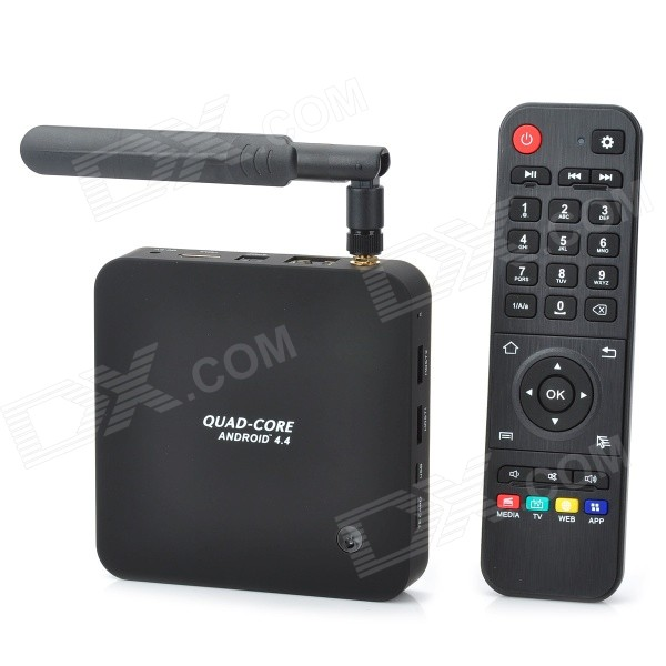 Q8 RK3288 Quad-Core Android 4.4 Google TV Player w/ 2GB RAM, 8GB ROM, Antenna, US Plug - Black ourspop m8c rk3288 4k quad core android 4 4 2 google tv player w 2gb ram 8gb rom 5mp camara us