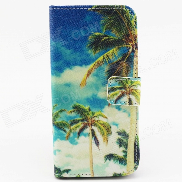 Coconut Tree Patterned Protective Flip-open PU Case w/ Stand + Card Slot for 4.7 IPHONE 6 - Blue фотоаппарат sony dsc rx10m2
