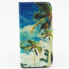 "Coconut Tree Patterned Protective Flip-open PU Case w/ Stand + Card Slot for 4.7"" IPHONE 6 - Blue"