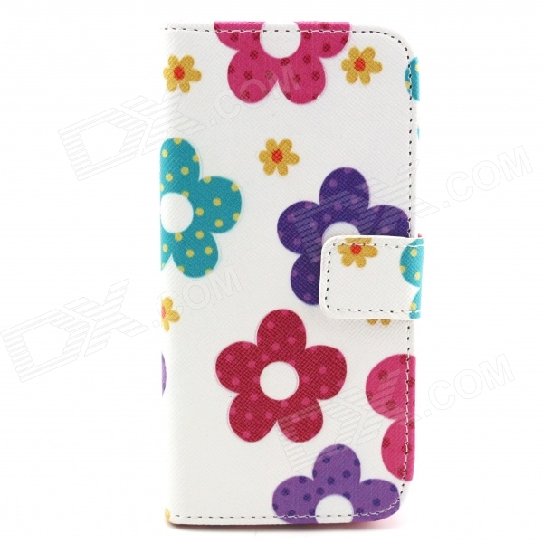 Sunflower Pattern Protective Flip-open PU Case w/ Stand + Card Slot for 4.7 IPHONE 6 - White + Pink grid pattern protective pu case w stand for iphone 6 4 7 red white
