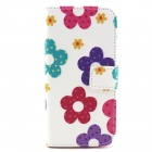 "Sunflower Pattern Protective Flip-open PU Case w/ Stand + Card Slot for 4.7"" IPHONE 6 - White + Pink"