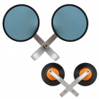 MZ Universal Motorcycle Aluminium CNC Round Anti-Glare Rearview Mirror - Silver + Blue (2 PCS)
